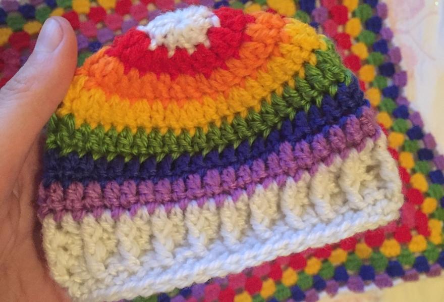 Rainbow baby newborn beanie